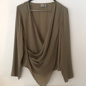 ASOS Draped Khaki Long Sleeve Blouse